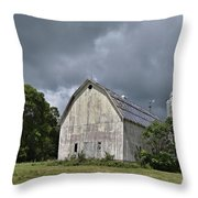 Weathered Barn And Silo Under A Cloudy Sky Throw Pillow