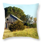 Weathered Barn In Fall Throw Pillow
