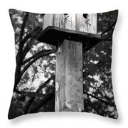 Weathered Bird House Throw Pillow