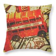 Weathered Bus Routes Throw Pillow