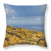 Weathered Coquina Ocean Rocks Throw Pillow