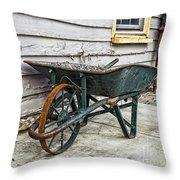 Weathered Green Wheelbarrow Throw Pillow