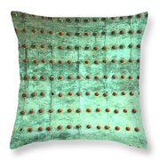 Weathered Metal Rivets With Green Patina Throw Pillow