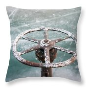 Weathered Metal Valve On Ice Throw Pillow