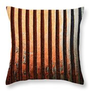Weathered Metal With Rows Throw Pillow