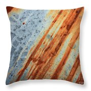 Weathered Metal With Stripes Throw Pillow