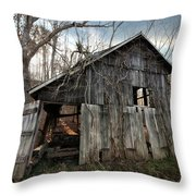 Weathered Old Abandoned Barn Throw Pillow