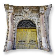 Weathered Old Artistic Door On A Building In Palermo Sicily Throw Pillow