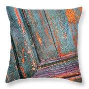 Weathered Orange And Turquoise Door Throw Pillow