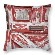 Weathered Red Door 1 Throw Pillow