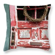 Weathered Red Door 3 Throw Pillow