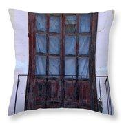 Weathered Red Wood Door Throw Pillow