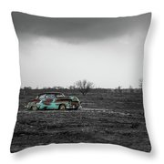 Weathered - Old Car In Texas Field Throw Pillow
