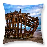 Weathered Shipwreck Throw Pillow