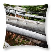 Weathered Trees Fallen Down Within Yellowstone National Park Throw Pillow