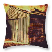 Weathered Vintage Rural Shed Throw Pillow
