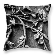Weathered Wall Art In Black And White Throw Pillow