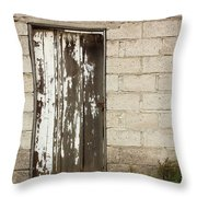 Weathered White Wood Door Throw Pillow