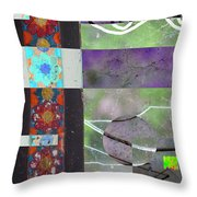 Weathered  Window With Broken Glass Throw Pillow