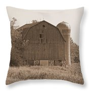 Weathered Wisconsin Barn In Sepia Throw Pillow