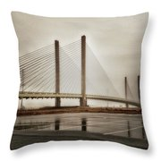 Weathering Weather At The Indian River Inlet Bridge Throw Pillow