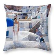 Wedding At Santorini Throw Pillow