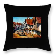 Wedding Day In Lavenham-suffolk-england - Palette Knife Oil Painting On Canvas By Leonid Afremov Throw Pillow