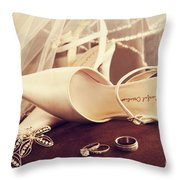 Wedding Shoes With Veil And Rings On Velvet Chair Throw Pillow by Sandra Cunningham