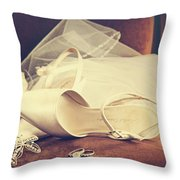Wedding Shoes With Veil On Velvet Chair Throw Pillow by Sandra Cunningham