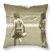 Wee Beachcombers Throw Pillow