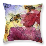 Wee Bees And Poppies Throw Pillow