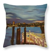 Weehawken From Pier 78 Throw Pillow by Milagros Palmieri
