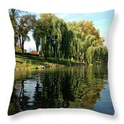 Weepin Willows Frankenmuth Cass River Throw Pillow