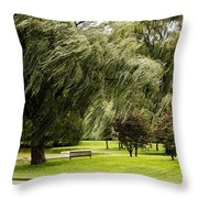 Weeping Willow Trees On Windy Day Throw Pillow