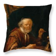 Weighing Gold 1664 Throw Pillow