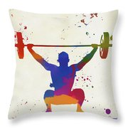 Weightlifter Paint Splatter Throw Pillow