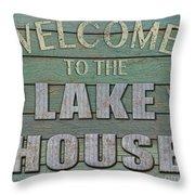 Welcome Lake House Throw Pillow