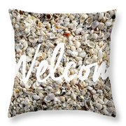 Welcome Seashell Background Throw Pillow