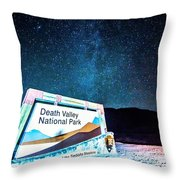 Welcome Sign To Death Valley National Park California At Night Throw Pillow
