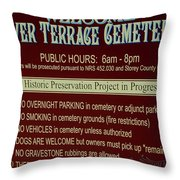 Welcome Silver Terrace Cemeteries Throw Pillow