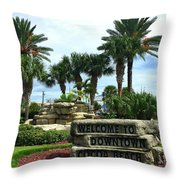 Welcome To Downtown Cocoa Beach Throw Pillow