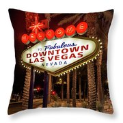 R.i.p. Welcome To Downtown Las Vegas Sign At Night Throw Pillow