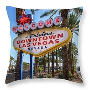 R.i.p. Welcome To Downtown Las Vegas Sign Day Throw Pillow