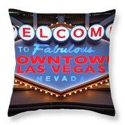 Welcome To Downtown Las Vegas Sign Slotzilla Throw Pillow