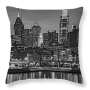 Welcome To Penn's Landing Bw Throw Pillow