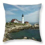 Welcome To Portland Head Light Throw Pillow