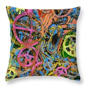 Welcome To The Machine Pink Orange Throw Pillow