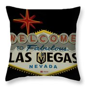 Welcome To Vegas Knights Sign Digital Drawing Throw Pillow