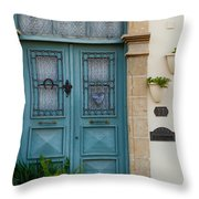 Welcoming Entrance And Strolling Cat Throw Pillow