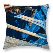 Well Used Fishing Boat Throw Pillow